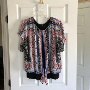 B-DESIGN floral print blouse w/ tie @ bottom sizeM